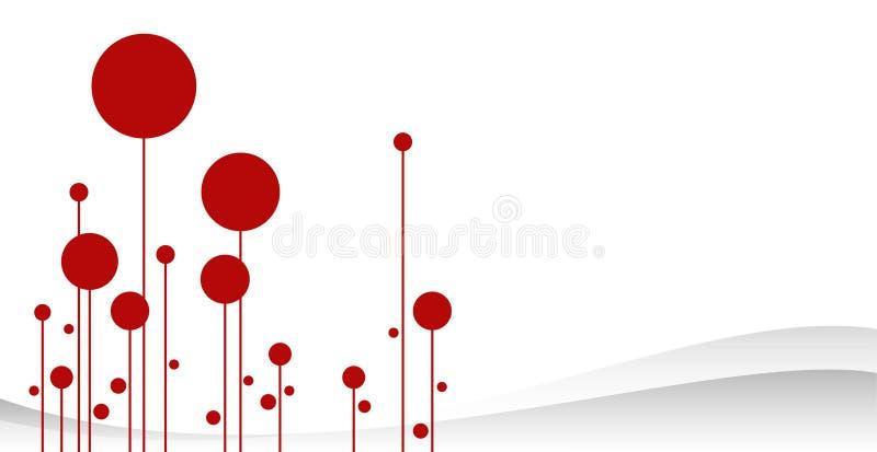 Arte rojo del vector del invierno del bosque