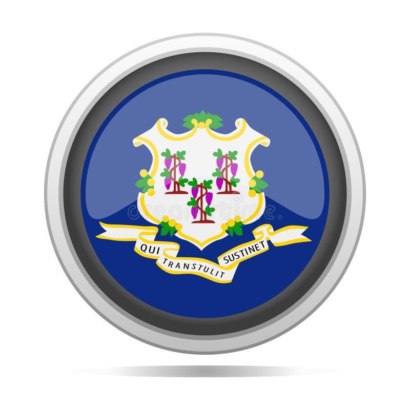 Arte rotonda di vettore della città di progettazione di simbolo del metallo della bandiera di Connecticut illustrazione vettoriale