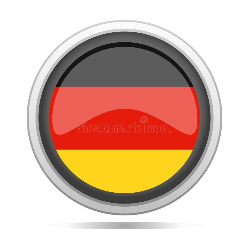 Arte rotonda di vettore della città di progettazione di simbolo del metallo della bandiera della Germania illustrazione di stock