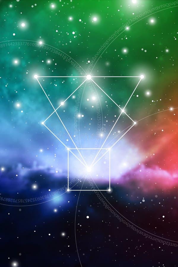 Arte sagrado de la geometría con los números de oro del ratio, los círculos que entrelazan, los triángulos y los cuadrados, flujo stock de ilustración