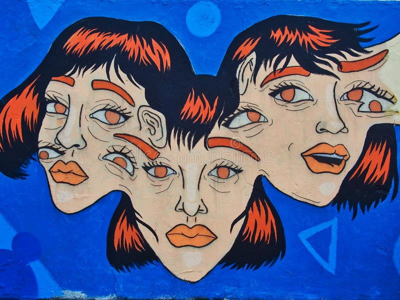 Arte surreale Colourful dei graffiti, spiaggia di Bondi, Australia fotografia stock libera da diritti
