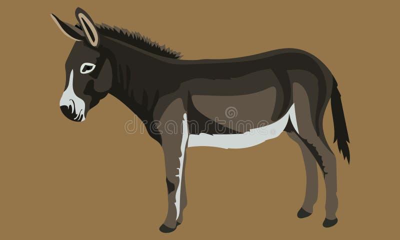 Arte sveglia nera e grigia di vettore dell'asino royalty illustrazione gratis