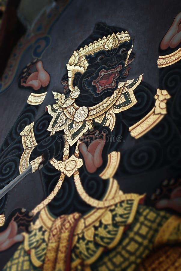 Arte tailandés de la pared del templo foto de archivo