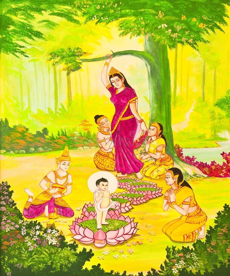 Arte tailandés tradicional de la pintura del estilo en la pared del templo imágenes de archivo libres de regalías