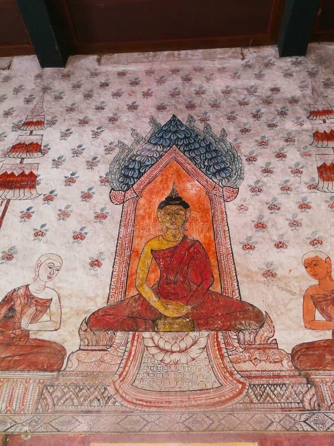 Arte tailandés, viejas pinturas murales en la provincia de Phetchaburi del templo del Na Pansam, Tailandia fotos de archivo libres de regalías