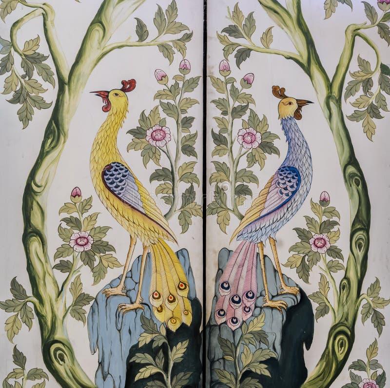 Arte tailandesa antiga da pintura na porta do templo foto de stock royalty free