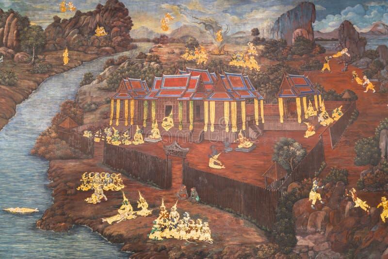 Arte tailandesa da pintura do estilo na parede do templo em Banguecoque, Tailândia fotos de stock royalty free