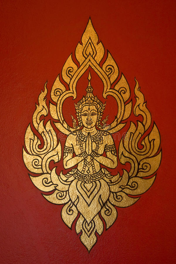 Arte tailandesa da pintura do estilo, Tailândia foto de stock