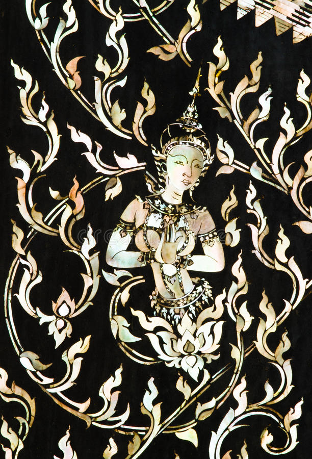 Arte tailandesa feita da pérola imagem de stock