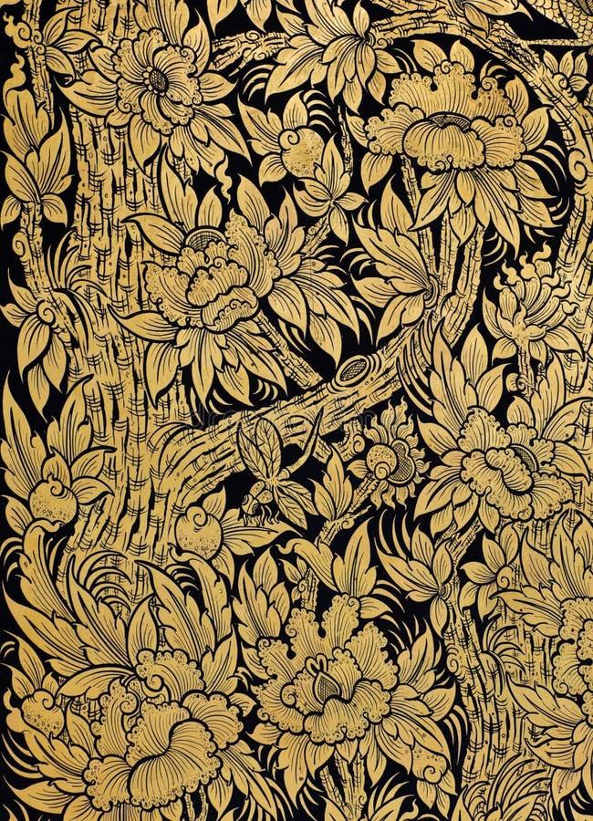 Arte tailandesa tradicional da flor imagem de stock