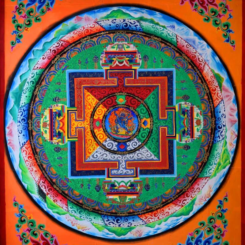 Arte tibetano del mural fotos de archivo