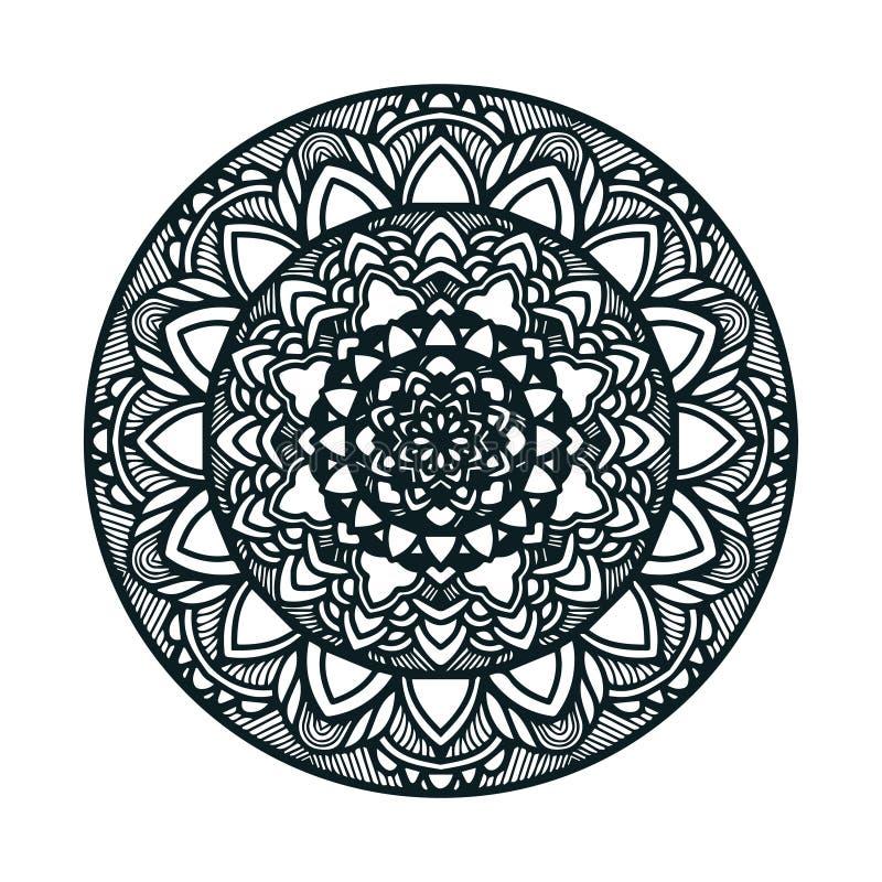 Arte tirada mão da mandala do vetor com o ornamento étnico floral do sumário Ornamento tribal Ilustração da garatuja da mandala ilustração do vetor