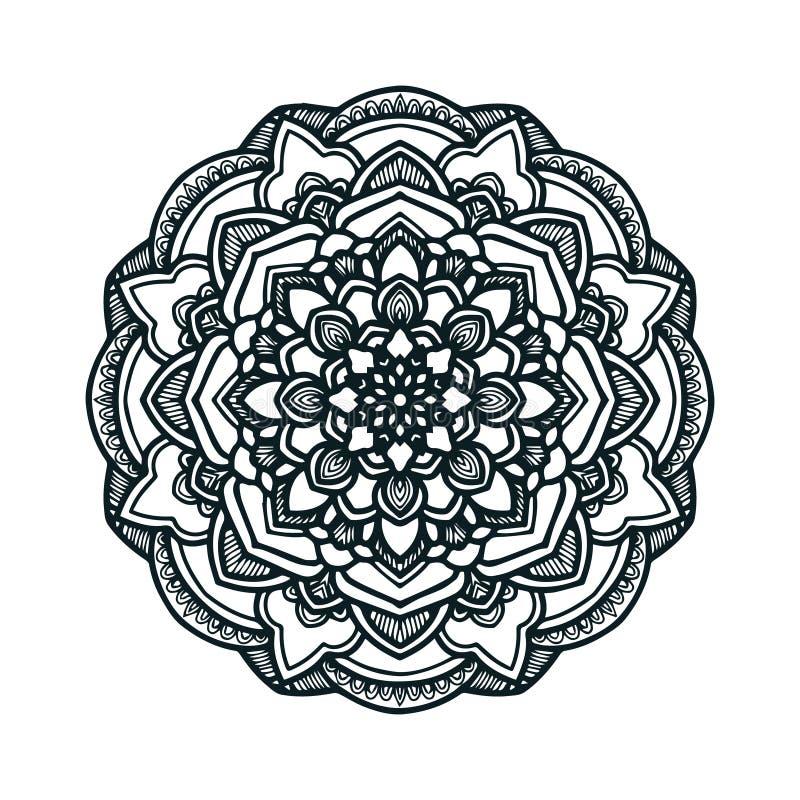 Arte tirada mão da mandala do vetor com o ornamento étnico floral do sumário Ornamento tribal Ilustração da garatuja da mandala ilustração royalty free
