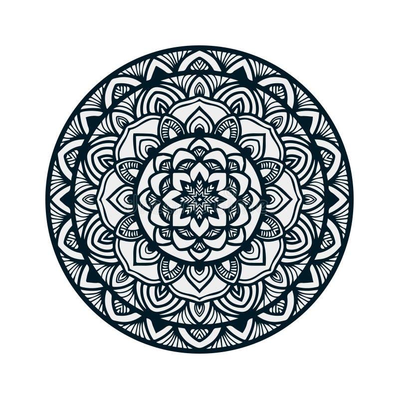 Arte tirada mão da mandala do vetor com o ornamento étnico floral do sumário Ornamento tribal Ilustração da garatuja da mandala ilustração stock