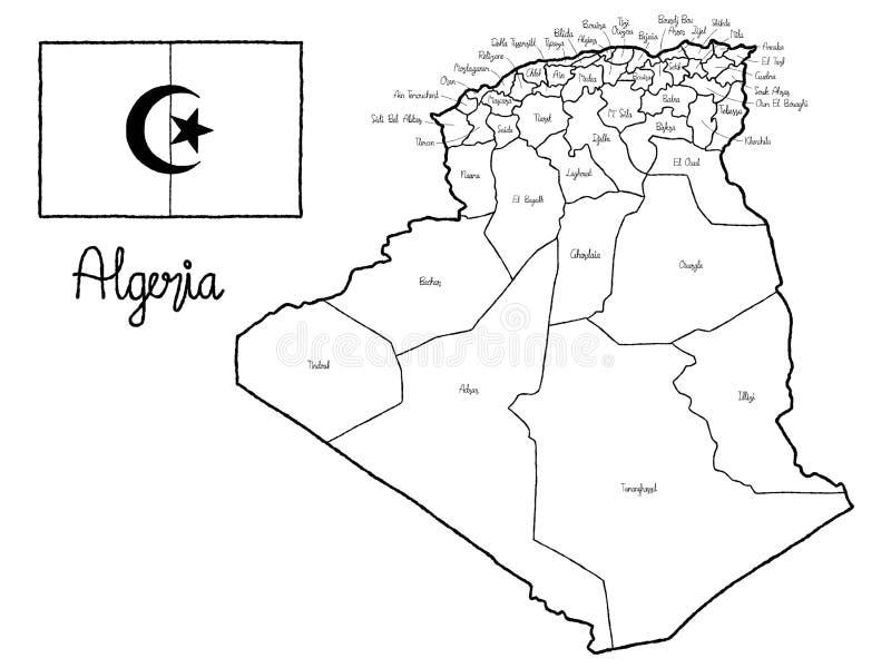 Arte tirada mão dos desenhos animados da ilustração do vetor da bandeira do mapa do país de Argélia ilustração stock
