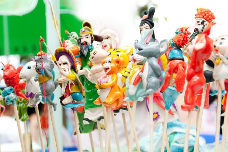 Arte tradicional chino, estatuillas de la pasta fotos de archivo libres de regalías