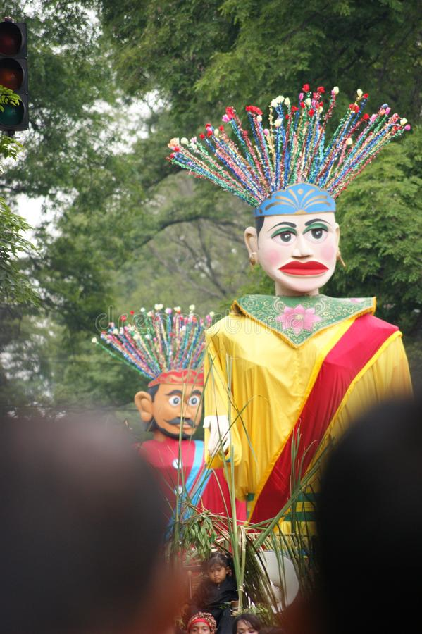 Arte tradicional de Ondel-Ondel, Jakarta, Indonésia foto de stock royalty free