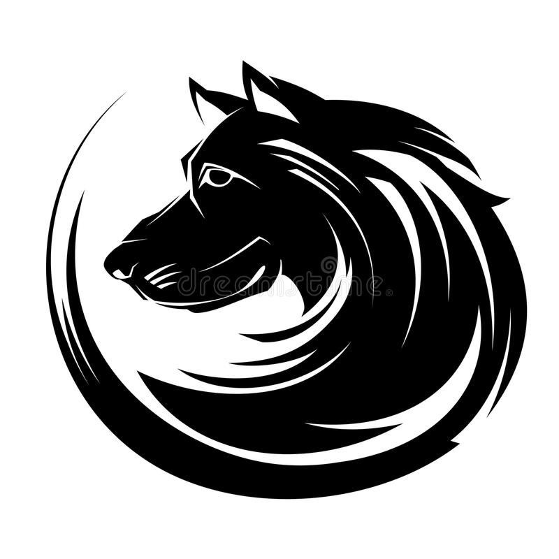 Arte tribal del tatuaje del illustartion del retrato del perfil del perro ilustración del vector