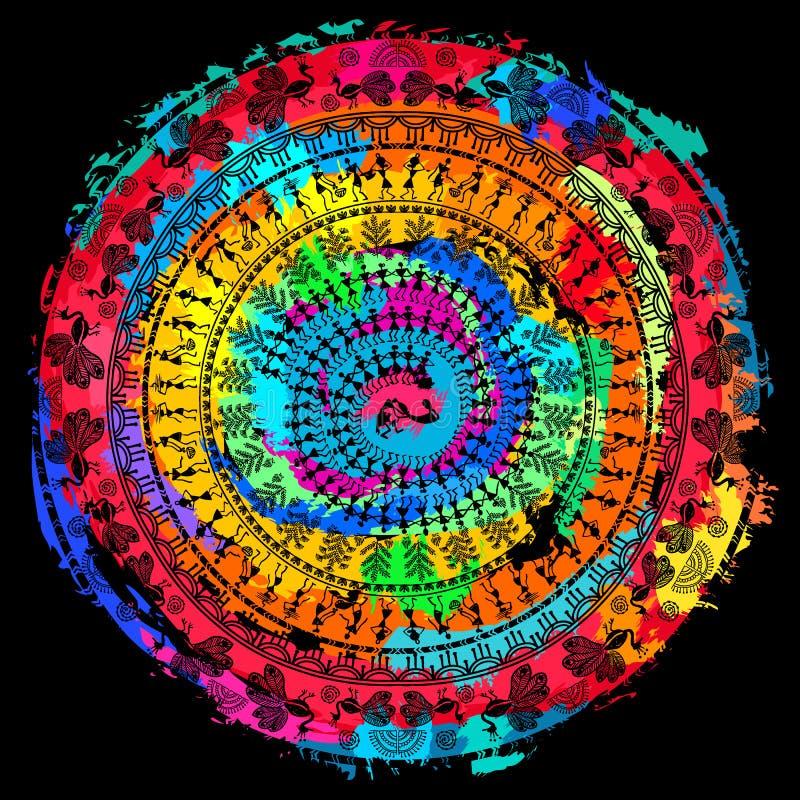 Arte tribale di warli rotondo illustrazione vettoriale