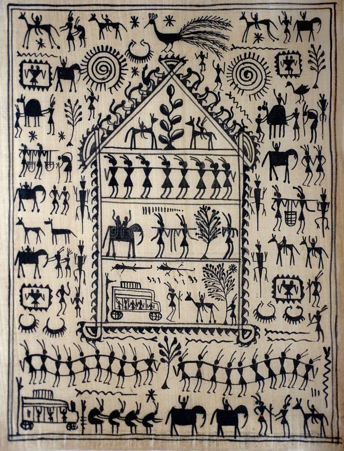 Arte tribale indiana tradizionale su seta immagini stock