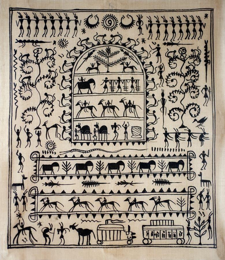 Arte tribale su seta dall'India fotografia stock