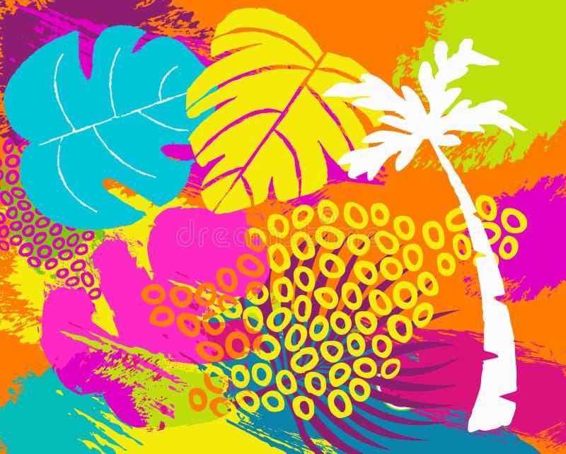 Arte tropical do fundo do sumário da natureza do verão ilustração royalty free