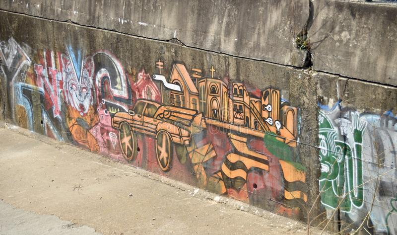 Arte urbana colorida dos grafittis fotografia de stock