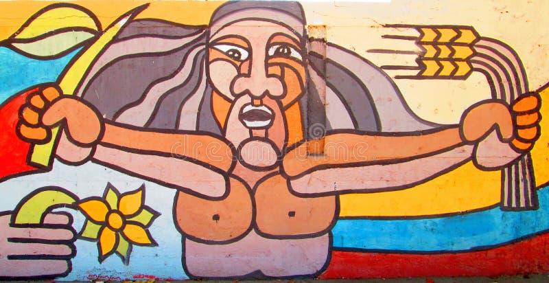 Arte urbana orecchie del grano e del fronte immagine stock libera da diritti