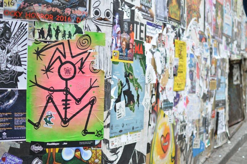 Arte urbano de la calle del cartel fotografía de archivo