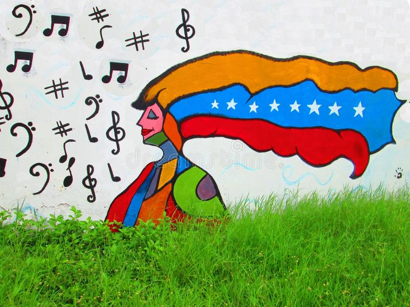 Arte urbano Mujer venezolana imagen de archivo