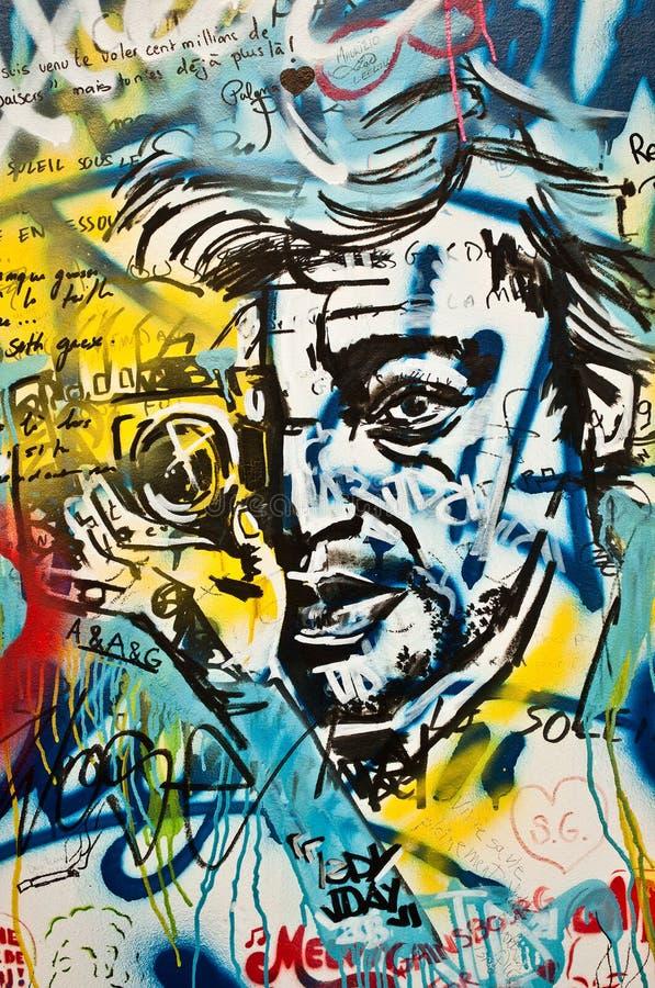 arte urbano - Serge Gainsbourg hace frente stock de ilustración