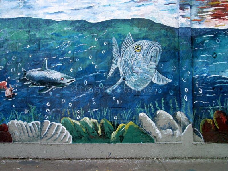 Arte urbano Vida marina foto de archivo