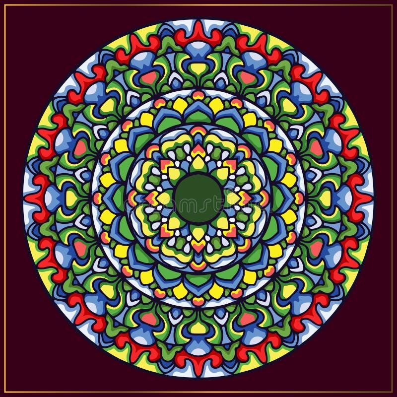 Arte variopinta d'annata di lusso della mandala con i motivi floreali circolari Arte della mandala per l'elemento di progettazion royalty illustrazione gratis