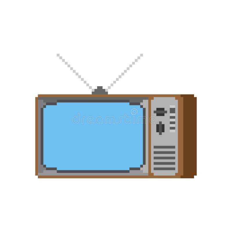 Arte velha do pixel da tevê televisão de 8 bocados retro Ilustração do vetor ilustração stock
