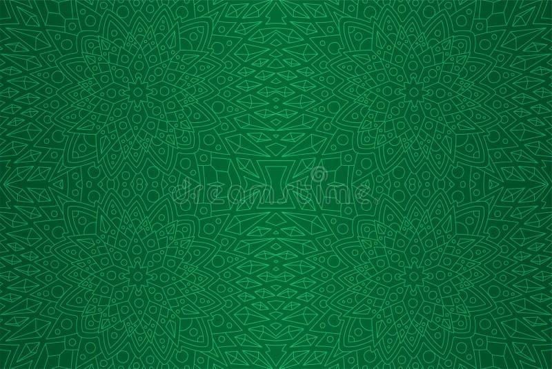 Arte verde con el modelo inconsútil linear detallado ilustración del vector