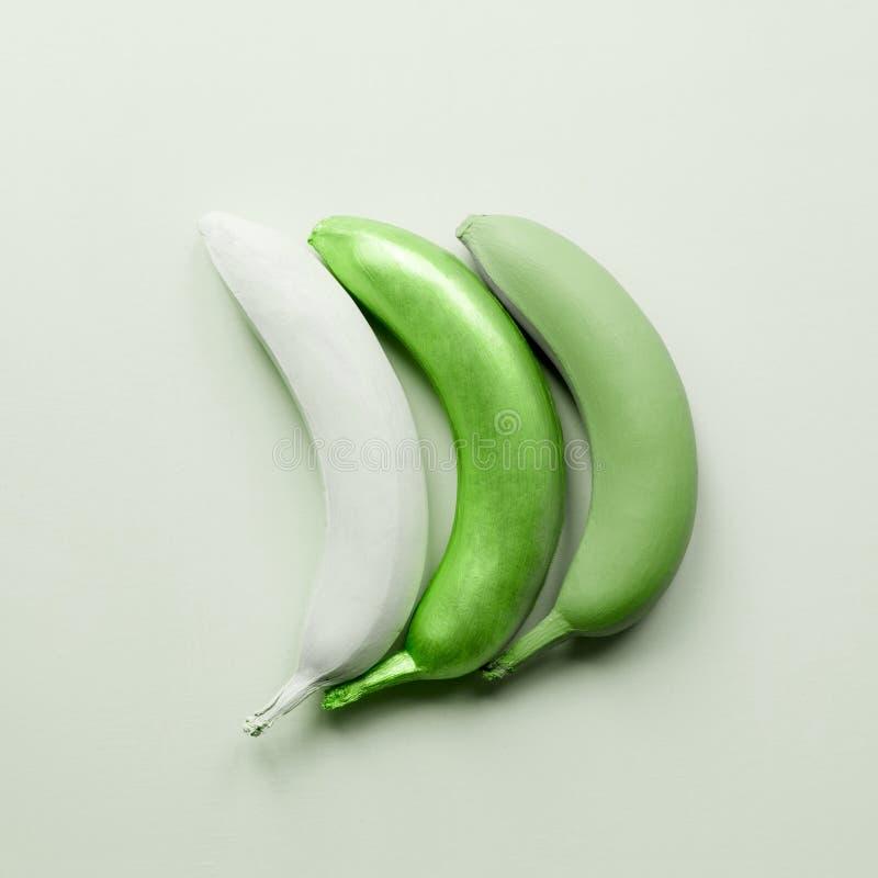Arte verde de los plátanos Frutas creativas fotografía de archivo libre de regalías