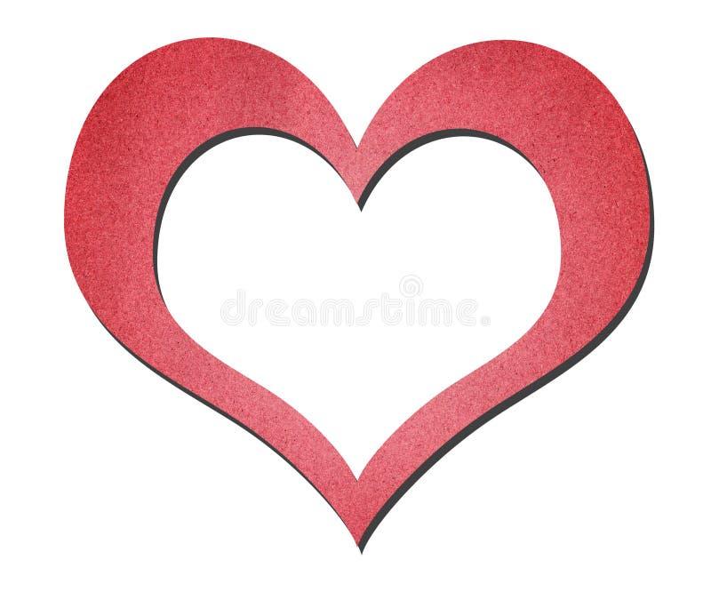 Arte vermelha do papel do coração isolada no branco fotos de stock