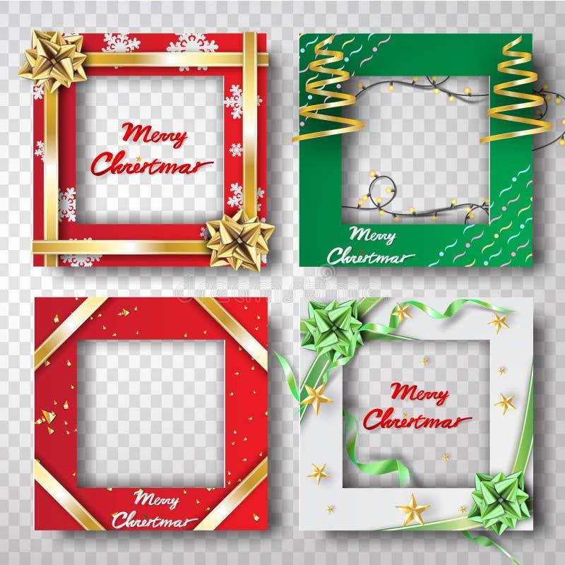 Arte y arte de papel del sistema del diseño de la foto del marco de la frontera de la Navidad, t ilustración del vector