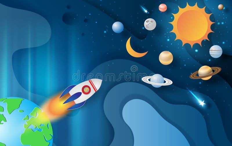 Arte y arte de papel del vuelo de Rocket con la galaxia del espacio en Abstra libre illustration