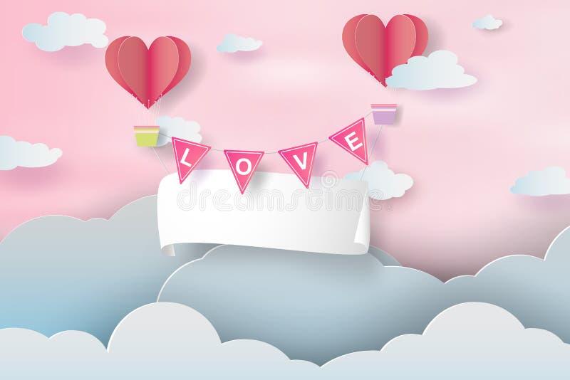 Arte y arte de papel de Valentine Day feliz, aire de papel b del letrero libre illustration