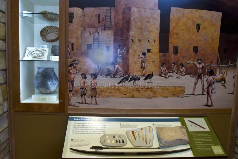 Artefacten en Muurschildering in Mesa Verde National Park stock afbeelding