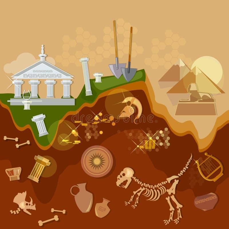 Artefactos antiguos de los cazadores de tesoros de la arqueología stock de ilustración