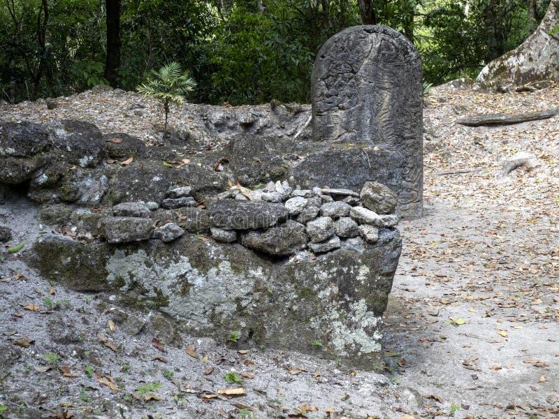 Artefactos de piedra en la ciudad maya más significativa de la nación del parque de Tikal, Guatemala fotos de archivo libres de regalías