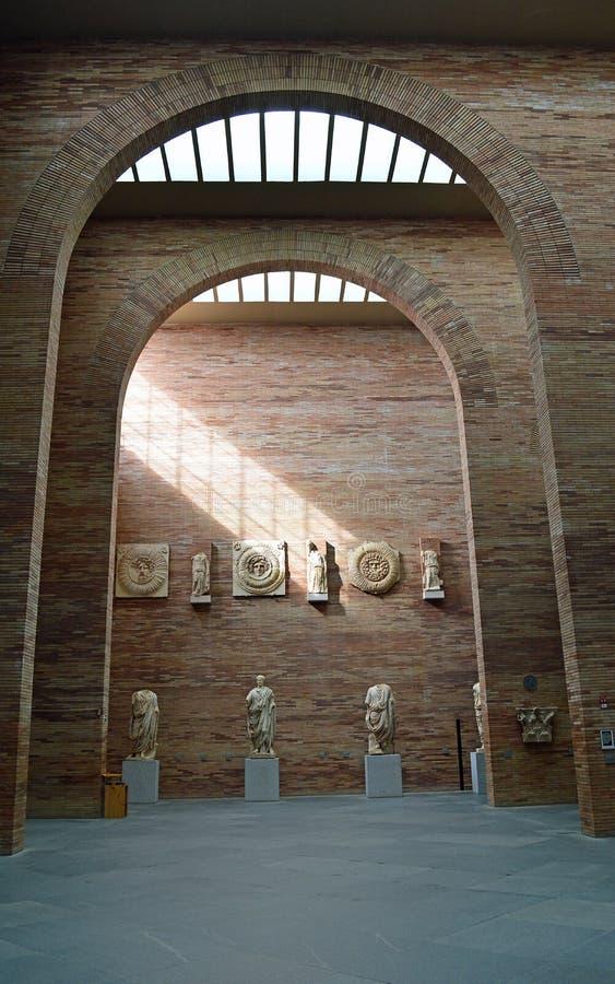 Artefacts at the main roman hall, Roman Museum, Museo Nacional de Arte Romano Merida, Spain royalty free stock photo