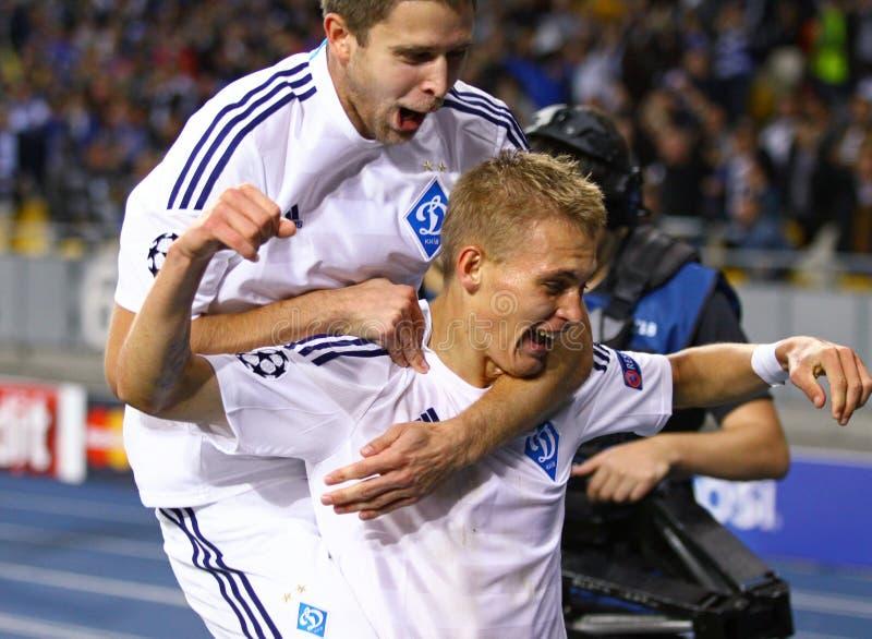 Artem Kravets and Vitaliy Buyalskiy of FC Dynamo Kyiv royalty free stock image