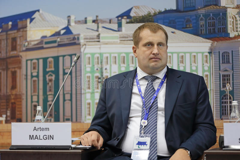 Artem Malgin. SAINT-PETERSBURG, RUSSIA - JUN 18, 2016: St. Petersburg International Economic Forum SPIEF-2016. Artem Malgin - rector of the Odintsovo University royalty free stock photography