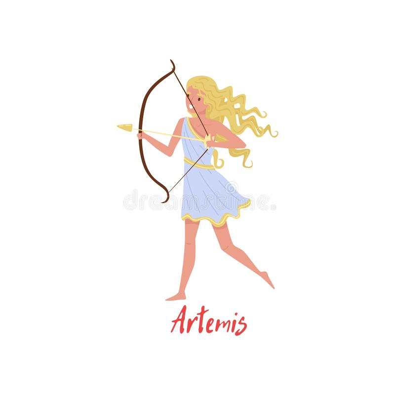 Artemis奥林山希腊语Goddes,古希腊神话漫画人物在白色背景的传染媒介例证 皇族释放例证