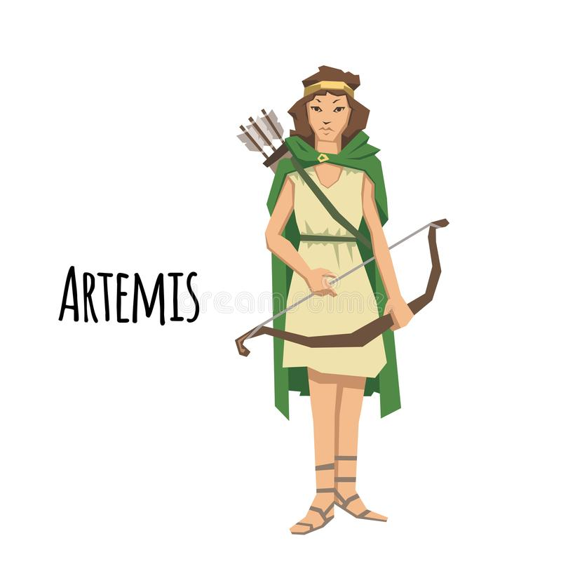 Artemis, ancient Greek goddess greek of the hunters and the moon. Mythology. Flat vector illustration. Isolated on white. Artemis, ancient Greek goddess greek of stock illustration