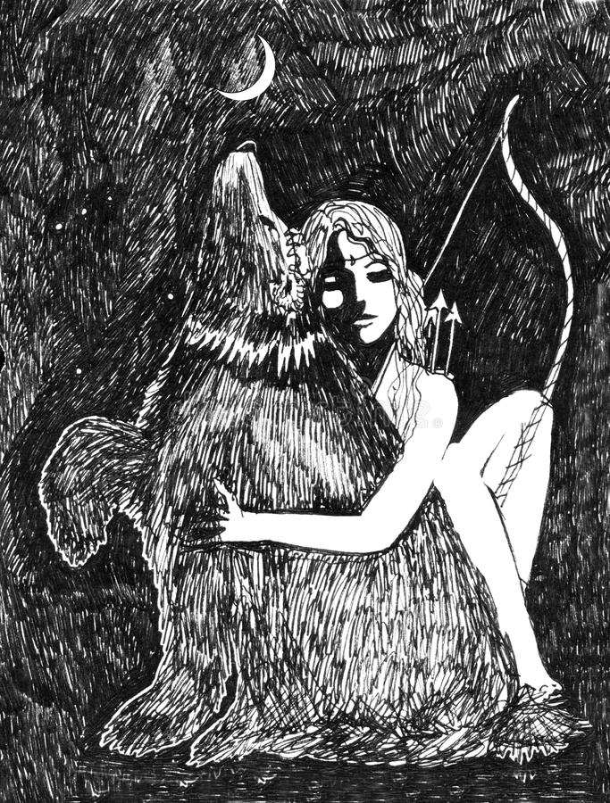 Artemis and Bear ink sketch fantasy. In black and white vector illustration