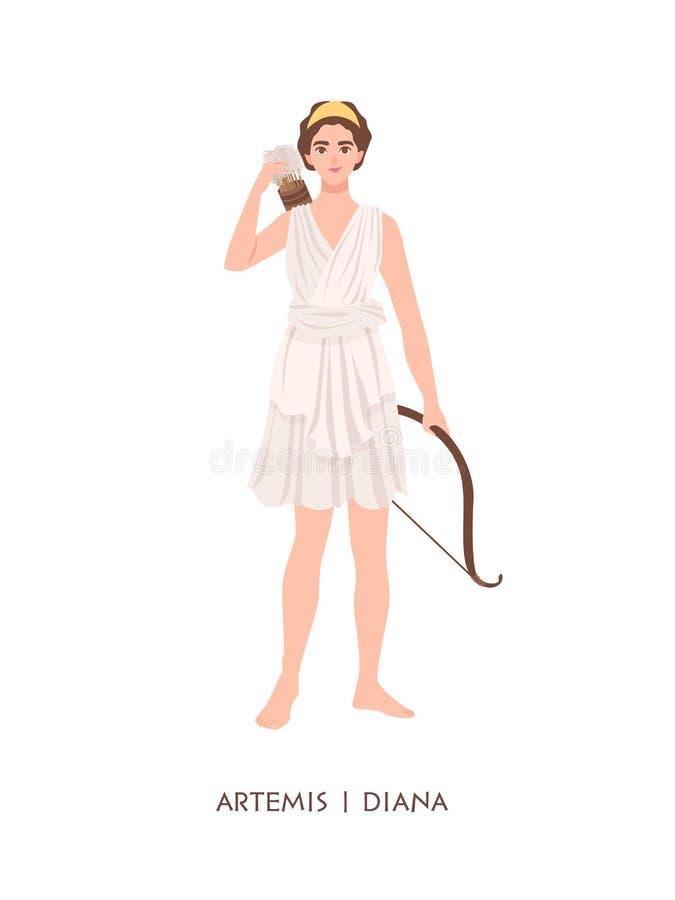 Artemis of Diana - godin of deity van jacht, Maan en kuisheid in Grieks en Roman pantheon Jonge mythische vrouw met royalty-vrije illustratie